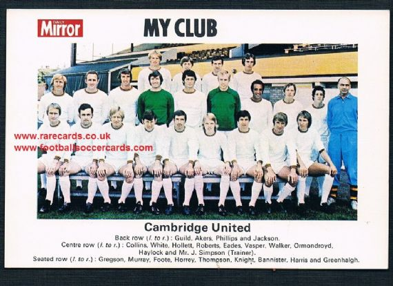 1970 My Club Daily Mirror postcard-size card Cambridge United